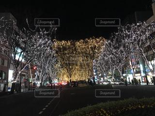 夜のライトアップされた街の写真・画像素材[869288]