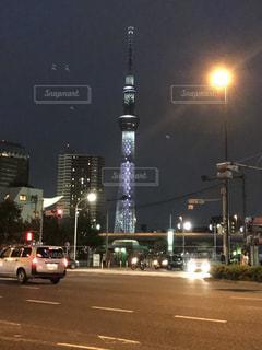 夜の東京スカイツリーの写真・画像素材[803927]