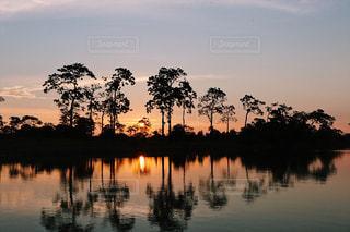 アマゾン川に沈む夕日の写真・画像素材[804776]
