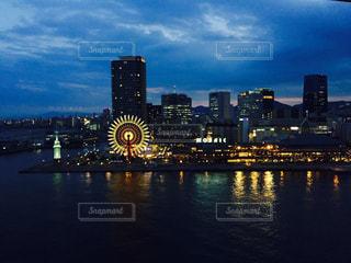 夕暮れのハーバーランドの写真・画像素材[813385]
