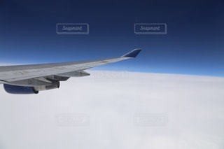 曇りの青い空を飛んでいるの写真・画像素材[809590]