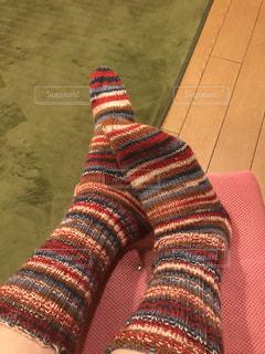 手編みの靴下の写真・画像素材[810910]
