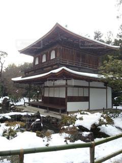 雪の日の銀閣寺の写真・画像素材[816935]