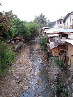 寂れた家屋と汚れた川の写真・画像素材[822412]