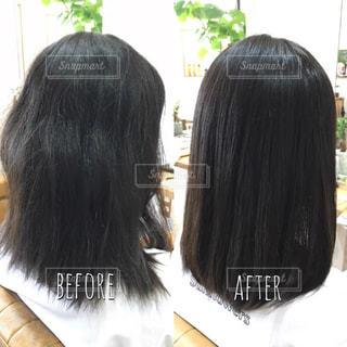 髪質改善のビフォーアフター写真の写真・画像素材[1526975]