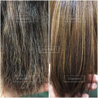 髪質改善のビフォーアフター写真の写真・画像素材[1543625]