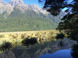 背景の山と木の写真・画像素材[819431]