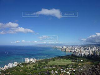 ハワイ、ダイヤモンドヘッドからの眺めの写真・画像素材[876329]