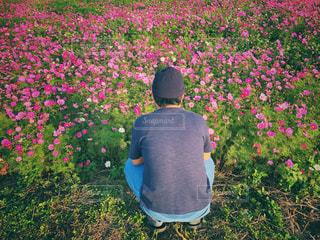 花の前に立っている人の写真・画像素材[2978869]
