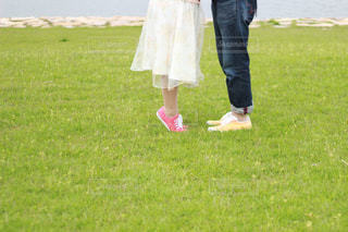 芝生のフィールドに立っている人の写真・画像素材[824602]