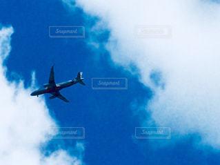 曇りの青い空を飛んでいるジェット大型旅客機 - No.846566