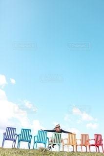 青空と虹の写真・画像素材[2596179]