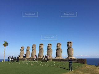 日南海岸のモアイ像の写真・画像素材[840611]