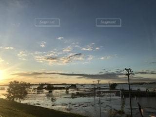 大きな川の調整池の写真・画像素材[2614641]