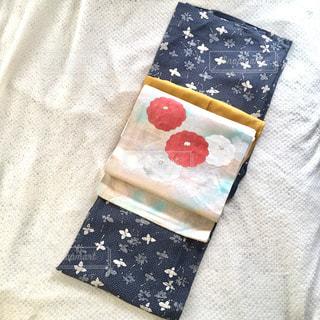 紺白色着物★小紋★からし色 - No.848958
