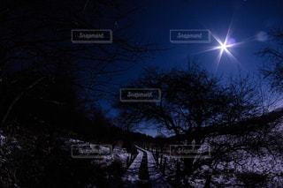 夜に見上げる空の景色の写真・画像素材[855068]