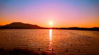 湖に沈む夕日。の写真・画像素材[847371]