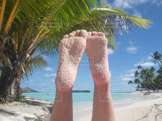 砂だらけの足の写真・画像素材[2386519]