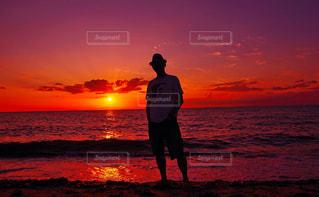淡路島室津海岸の夕陽の写真・画像素材[858896]
