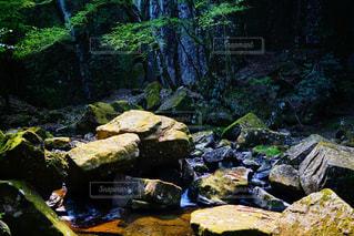 岩の横にある大きな滝の写真・画像素材[849371]