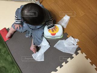 ウエットティッシュをだして遊ぶ赤ちゃんのイタズラの写真・画像素材[868888]