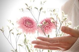 花を持つ手の写真・画像素材[4771516]