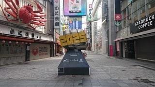 ゴーストタウンの大阪ミナミの道頓堀の写真・画像素材[3363064]