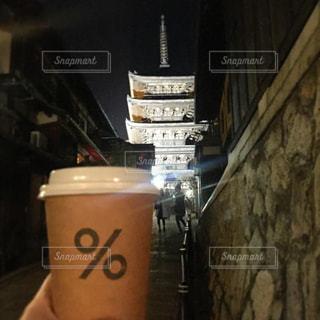 コーヒーと京都の風景の写真・画像素材[1012104]