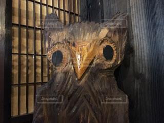 木彫りのフクロウ(顔のみ)の写真・画像素材[867435]