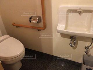 手洗い場付きの広々としたトイレの写真・画像素材[871306]