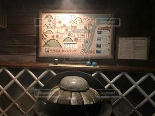 城崎温泉の街中にあるマップと飲用温泉の写真・画像素材[1025245]