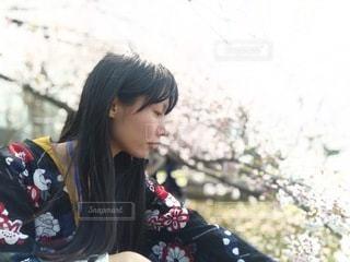 桜の木の下にいる俯き加減の女性の横顔の写真・画像素材[3381142]