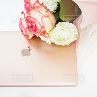 ピンクのMacBookの写真・画像素材[1120622]