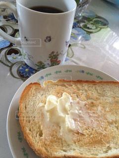 クローズ アップ食べ物の皿とコーヒー カップ - No.1249367