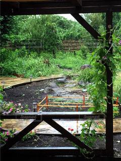 木製のフェンスのビューの写真・画像素材[1370702]