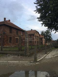 背景の木と古いれんが造りの家の写真・画像素材[911847]