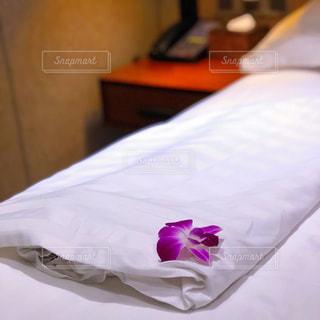 ベッドの上に添えられた紫の花の写真・画像素材[1057624]