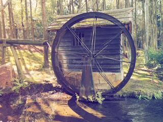 森の水車の写真・画像素材[1021683]