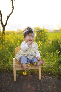 黄色の花の前でベンチに座っている少女の写真・画像素材[1677960]