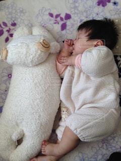 赤ちゃんと羊の写真・画像素材[887231]