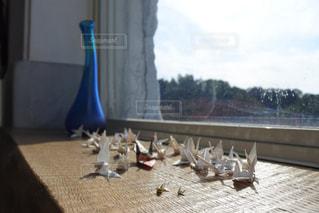 テーブルの上に座っている鳥の写真・画像素材[896050]