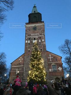 教会のクリスマスツリーの写真・画像素材[895434]