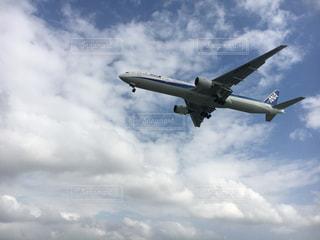 青い空を飛んでいる飛行機の写真・画像素材[896179]