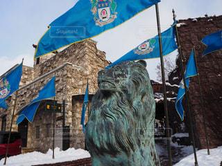 真冬のライオン石像 - No.953312