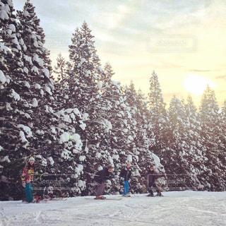 雪に覆われた斜面をスキーに乗っている人のグループの写真・画像素材[899688]