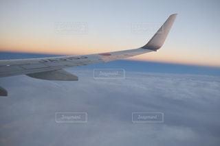 曇り空を飛ぶ大型旅客機 - No.1057392