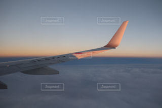 曇り空を飛ぶ大型旅客機 - No.1057393
