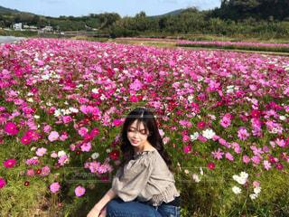 植物にピンクの花の少女の写真・画像素材[1605449]