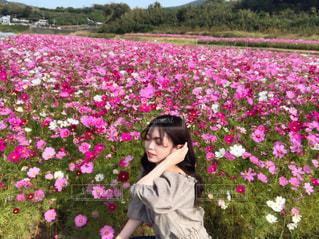 花の前に立っている女の子の写真・画像素材[1605454]