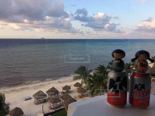 """メキシコ コスメル島 ホテルからのカリブ海 """"クルーズ船が見える!""""の写真・画像素材[912324]"""